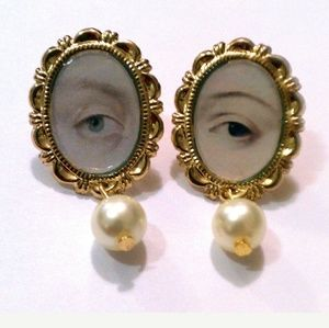 SOLD Lover's Eye miniature portrait earrings